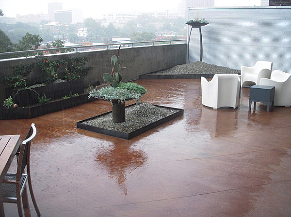 Modern balcony garden in the rain