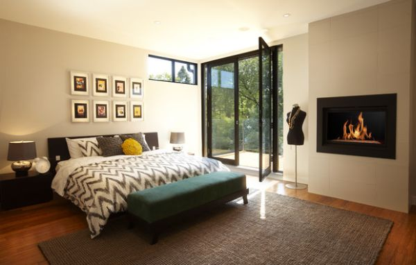 Modern bedroom fireplace idea