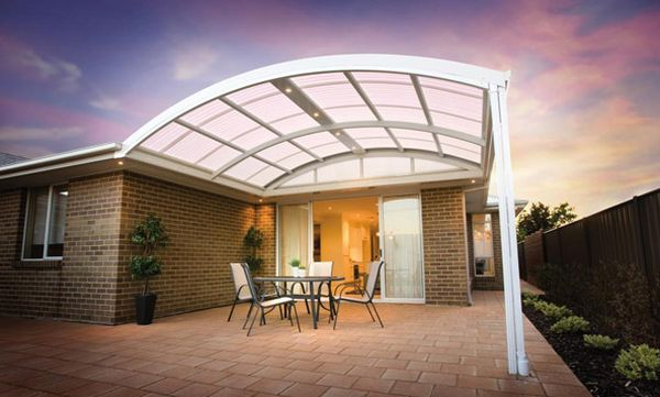 Modern curved pergola in white