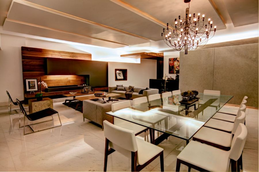 Modern dining area in the Mexico City Residence