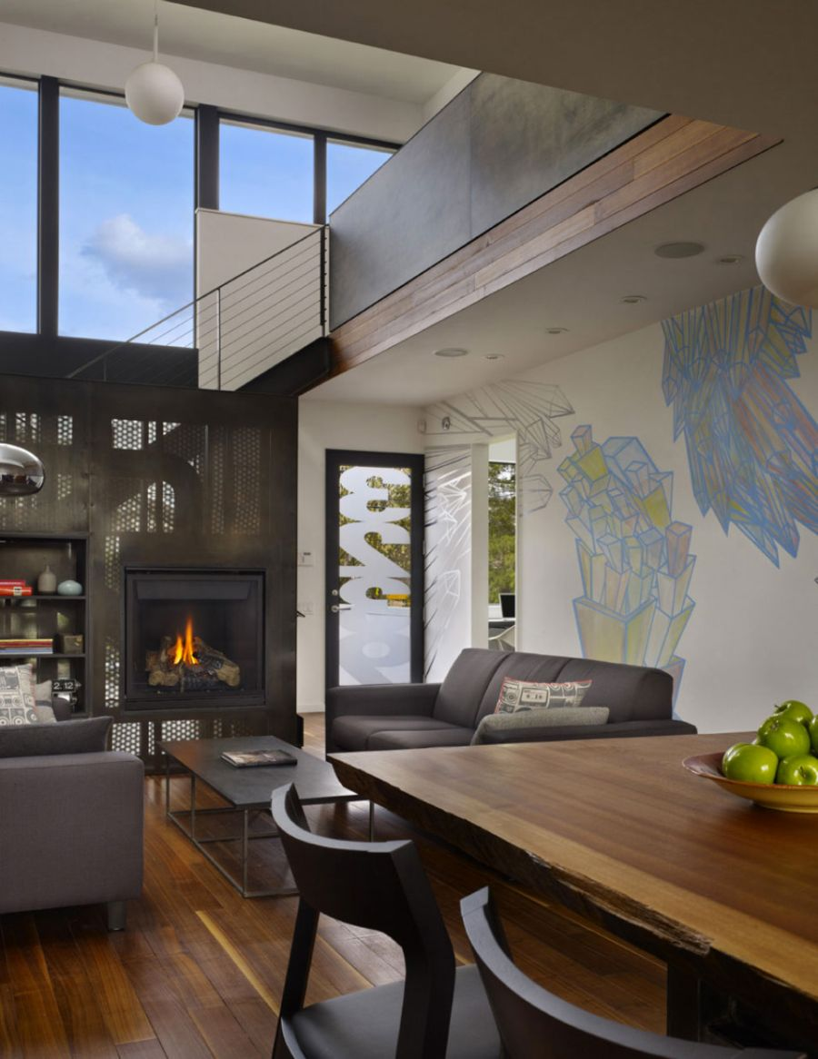 Modern fireplace in the living room Art Filled Interior Of Beet Residence Ushers In Contemporary Chic