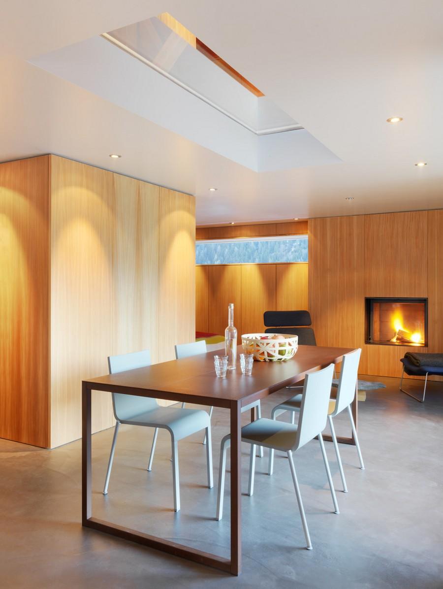 Modern fireplace inside the chalet