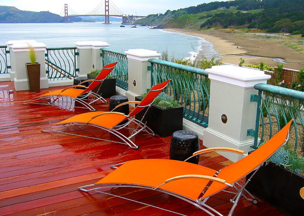 Modern outdoor seating in orange