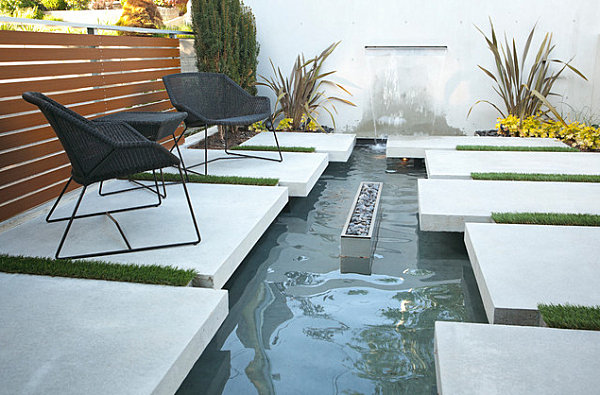 Modern seating area with a water feature