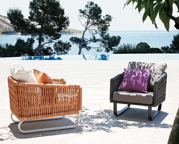 Modern seating in an outdoor space with a view