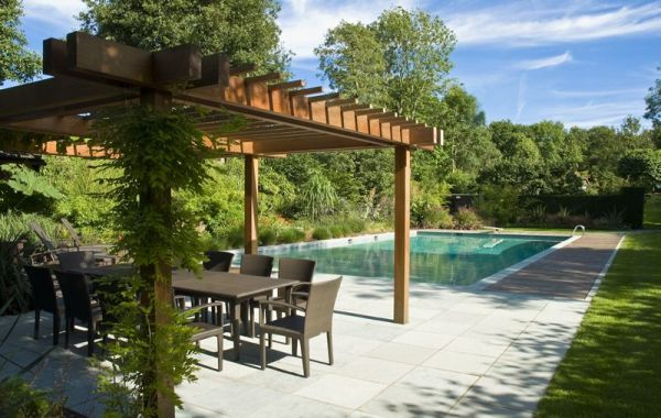Natural vines provide both shade and style to the pergola