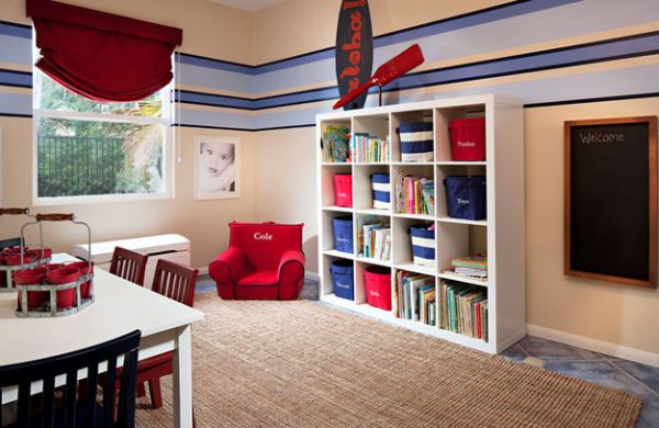 Nautical themed kids' playroom in red and blue