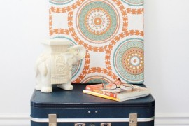 Navy blue suitcase coffee table