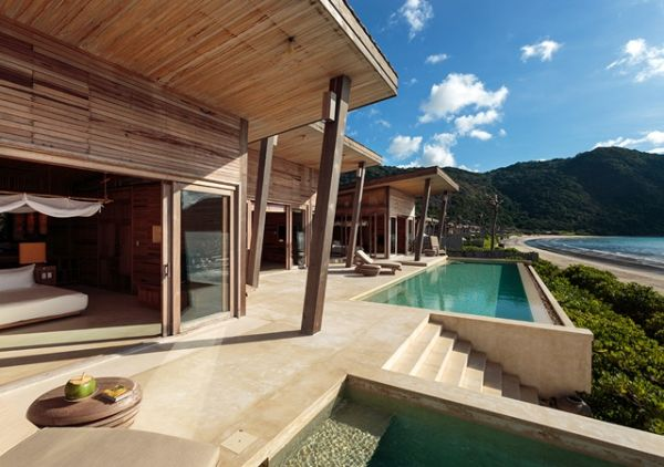 Ocean front bedroom villa at the Six Senses