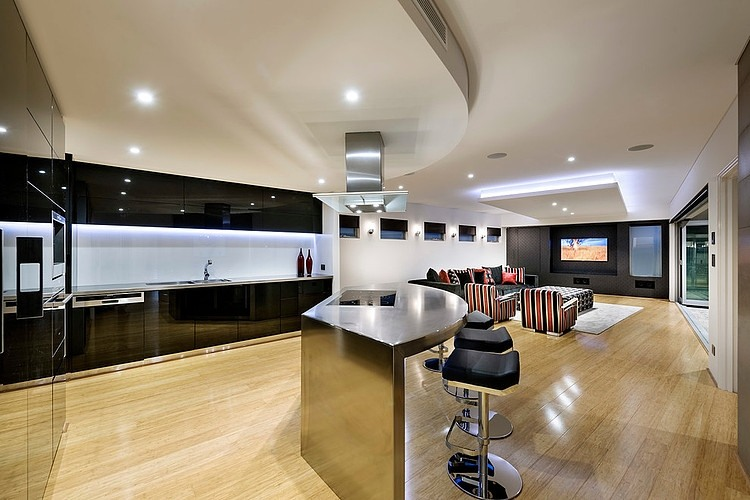 Open floor living plan of the Mizu Residence