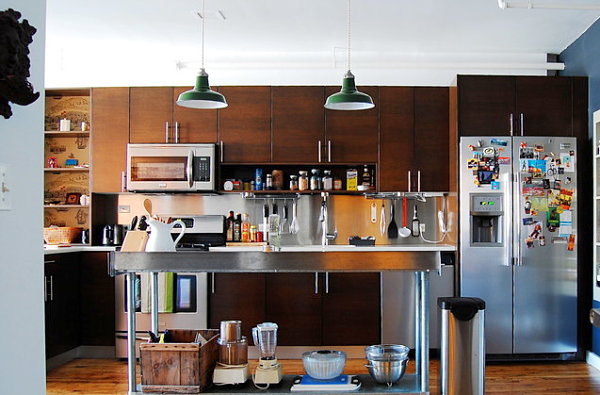 Open kitchen filled with gadgets and tools