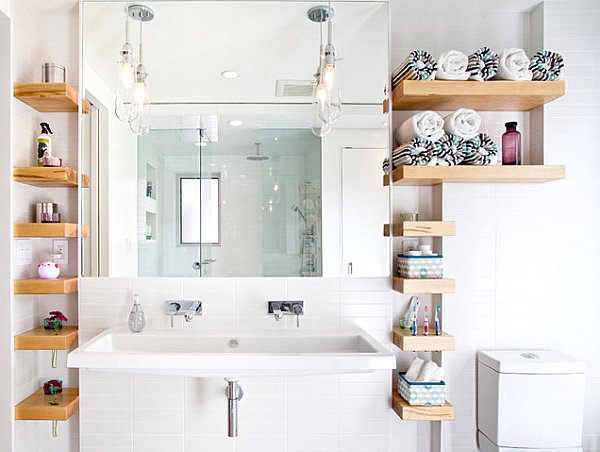 Open shelving for bathroom storage