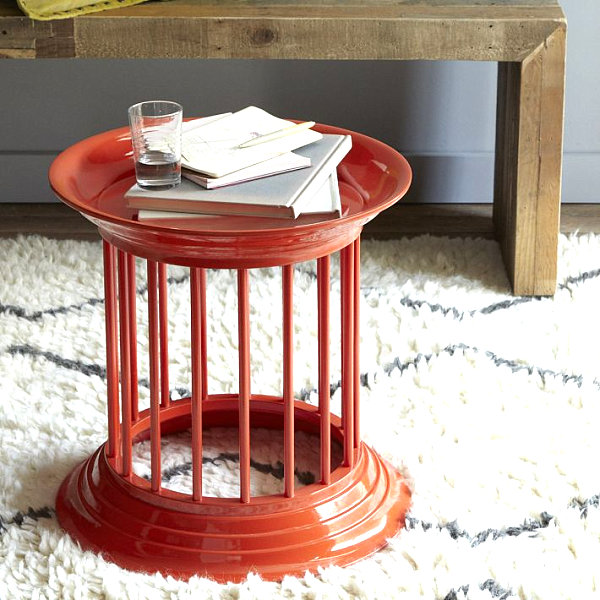 Orange lacquer side table