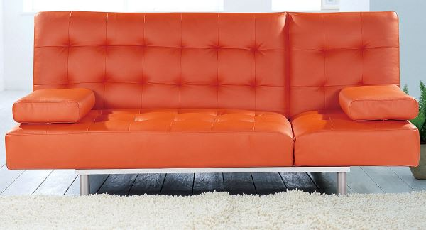 Orange leatherette sofa