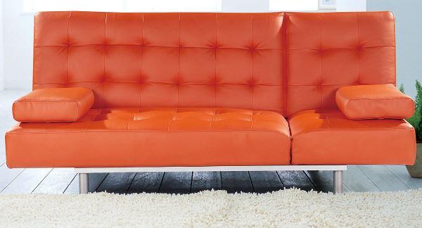 Orange leatherette sofa Bright Orange Furniture Finds for a Vibrant Interior