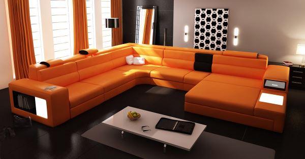 Orange sectional sofa