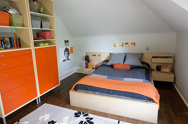 Orange storage in a child's bedroom
