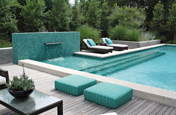 Outdoor floor cushions next to the pool are currently quite the rave!