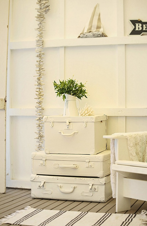 Painted suitcase side table DIY Furniture Ideas: Turning Old Suitcases Into Fancy Furniture