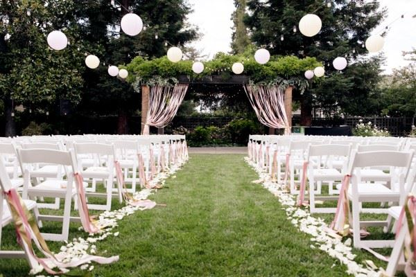 Paper lanterns at a garde wedding
