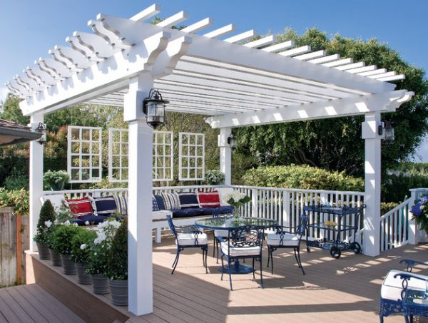 Pergolas help provide form to the outdoor dining area