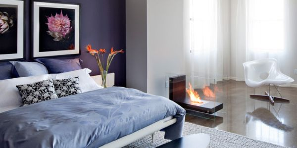 Planika L-Shape Fireplace next to the bed oozes with contemporary minimalism