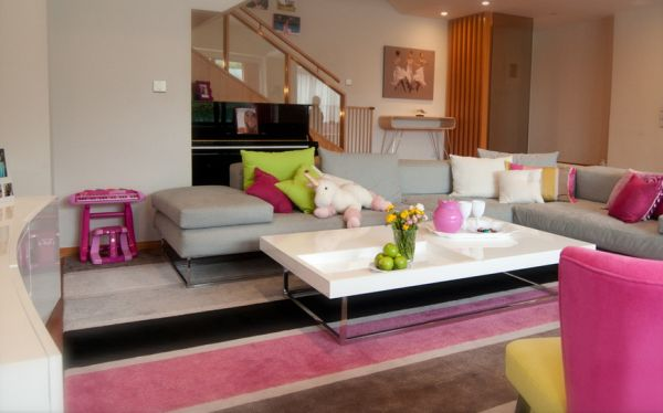 Playroom idea for girls with plenty of pink