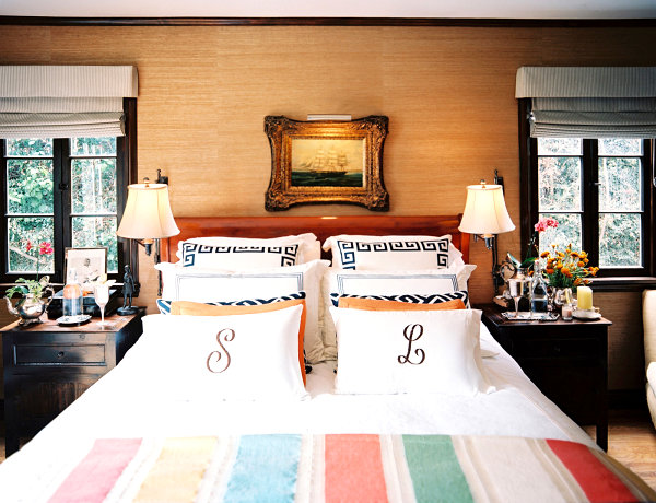 Plush bedding in an eclectic space