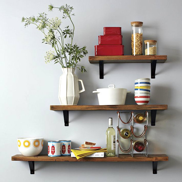 Practical and decorative items on kitchen shelving