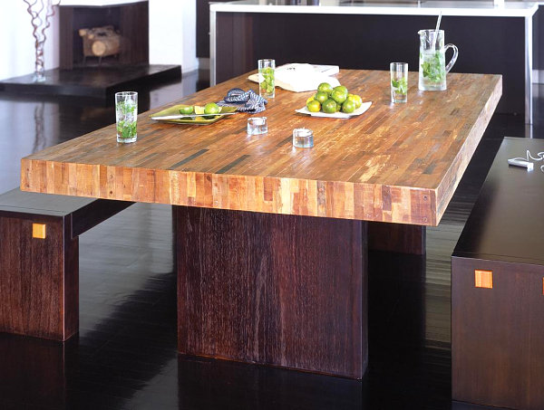 Reclaimed wood dining table with modern style