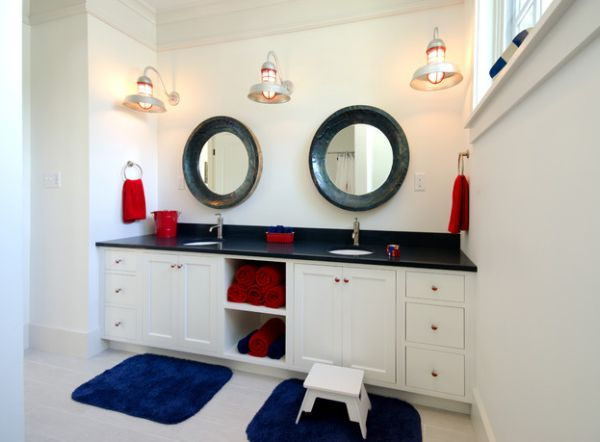 ... Red And Blue Towels Help Bring In The Nautical Theme In The Bathroom