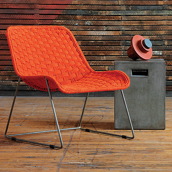 Red-orange handwoven chair