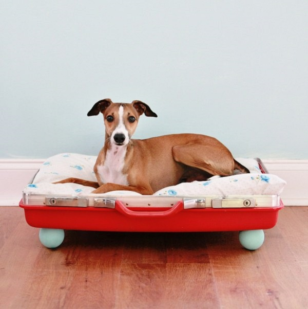 Red suitcase dog bed DIY