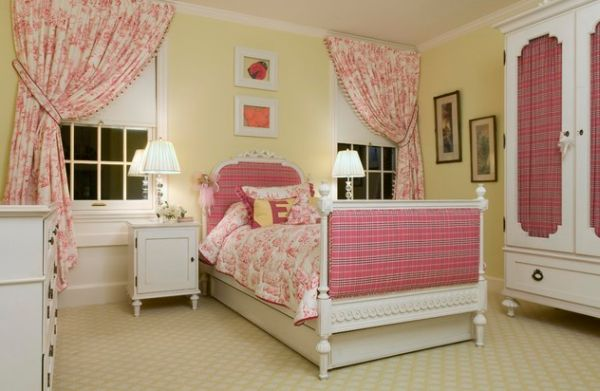 Refined toile curtains and fabric can bring playfulness to the kids' bedroom