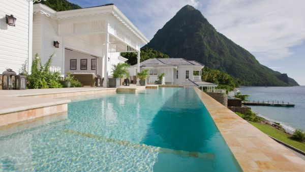 Residence Villa pool at Sugar Beach St Lucia