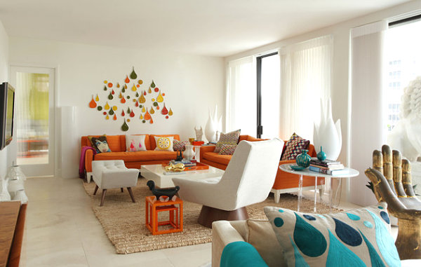 Retro living space with orange touches