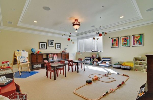 Simple and stylish playroom idea for the basement