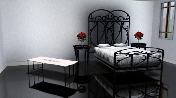 Sims 3 CC Gallery Wrought Iron Bed in Black