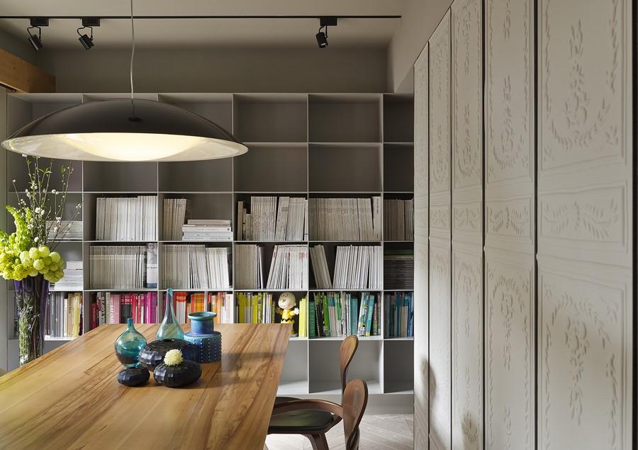 Sleek bookshelf in gray