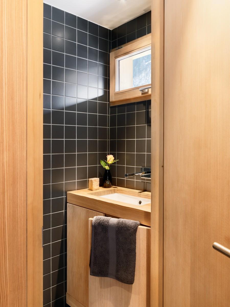 Sleek modern bathroom inside the Swiss getaway