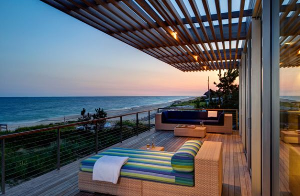 Sleek pergola design for the contemporary porch with ocean views