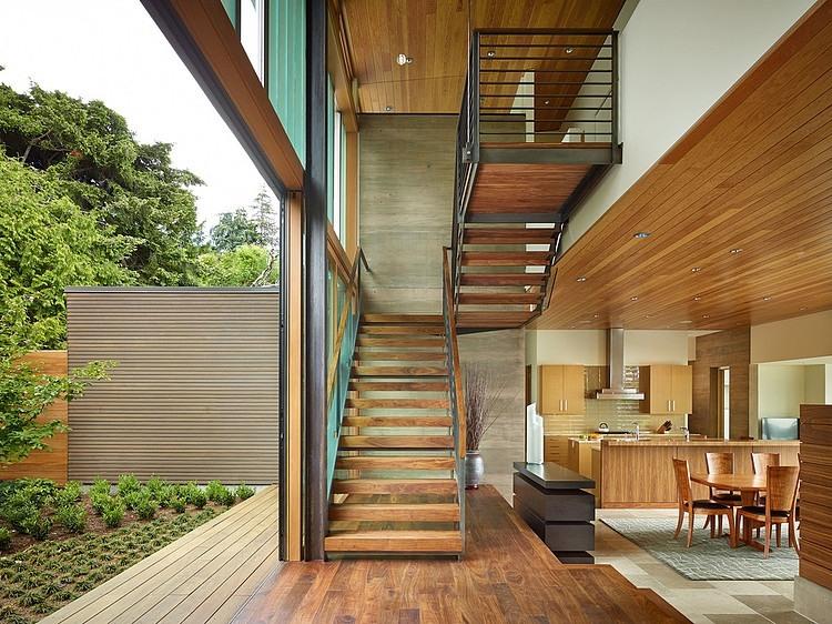 Sleek wooden staircase