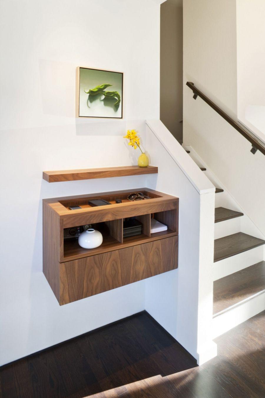 Smart floating shelves in California home