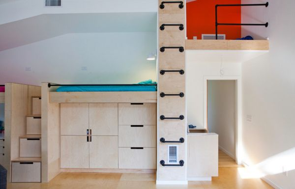 Smart playroom storage units and a hip ladder that leads to a cool hideaway!
