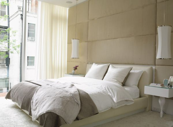 Soothing shades in the bedroom create a relaxed setting