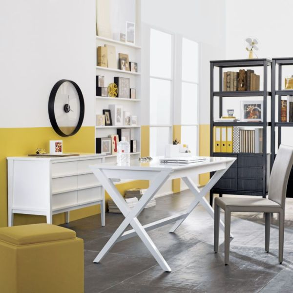 Spacious home office in white and yellow with the Spotlight desk