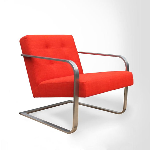 Steel-armed persimmon chair