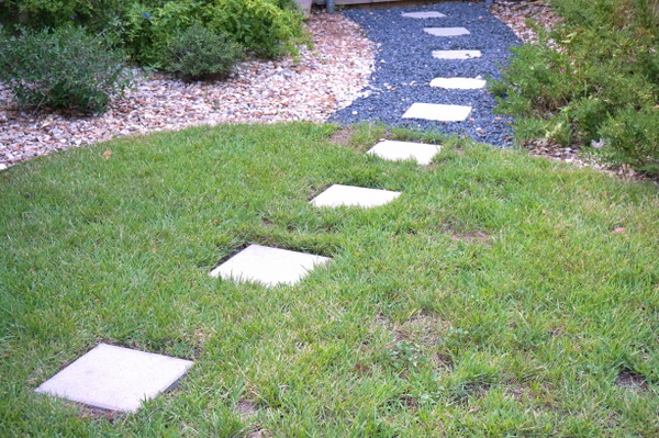 Stepping stones in an outdoor space