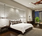 Stunning contemporary bedroom with a perfectly lit textured wall