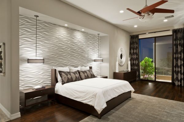 Stunning contemporary bedroom with a perfctly lit textured wall Bedside Lighting Ideas: Pendant Lights And Sconces In The Bedroom